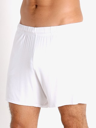Model in white McKillop Propel Modal Lounge Shorts