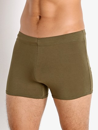 Model in army McKillop Tackle Modal Tight Lounge Short