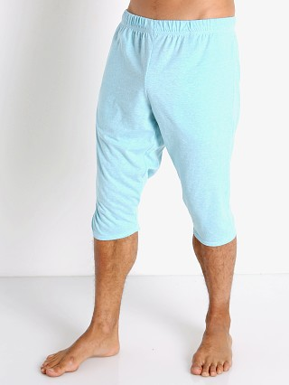 Model in aqua heather McKillop Slider Cotton/Poly Capri Shorts