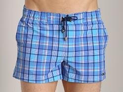 2xist summer plaid ibiza swim shorts pool blue