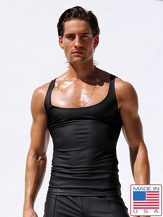 "Model in black Rufskin Corto Stretch ""Rubber"" Tank Top"