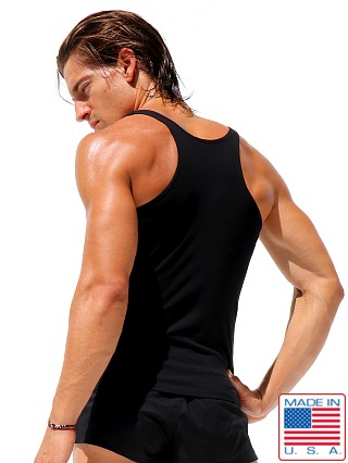 Model in black Rufskin Zack Premium Stretch Cotton Low-Chest Tank Top