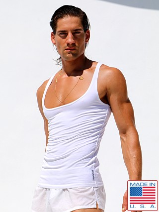 Model in white Rufskin Zack Premium Stretch Cotton Low-Chest Tank Top