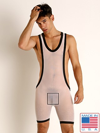 Model in white Go Softwear Hard Core Skin Mesh Bruno Singlet
