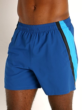 "Model in graphite blue Under Armour Launch 5"" Running Short"