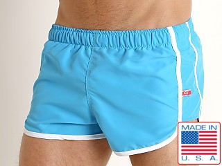 Model in sky Go Softwear Del Mar Swim Shorts