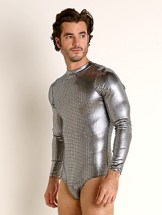 Model in platinum sparkle Manstore Nightclub Dazzle Body Suit