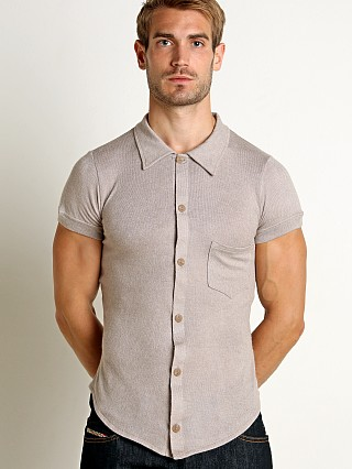 Model in camel Modus Vivendi Mohair-Look Shortsleeve Shirt