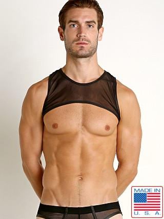 Model in black Go Softwear Hard Core Grid Mesh Harness