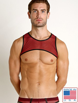 Model in burgundy Go Softwear Hard Core Grid Mesh Harness