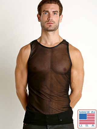 Model in black Go Softwear Hard Core Grid Mesh Tank Top