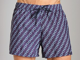 Model in navy print GrigioPerla Nero Perla Chains Capri Shorts Navy