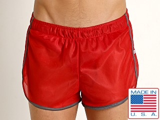 American Jock Featherweight Sheer Mesh Track Short Red/Grey