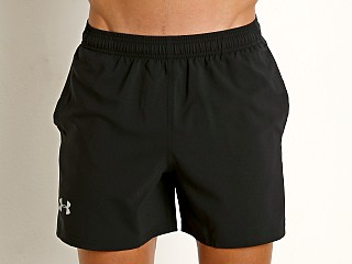 "Model in black/blue Under Armour Launch 5"" Running Short"