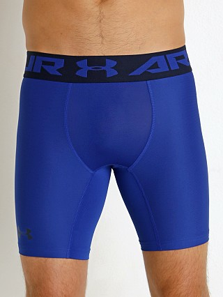 Model in royal Under Armour 2.0 Mesh Front Compression Short