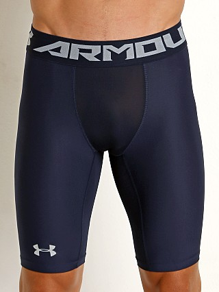 Model in midnight navy Under Armour Heat Gear 2.0 Compression Short