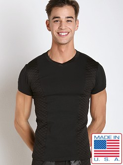 Go Softwear Hard Core Street Quilted Panel V-Neck Tee Black