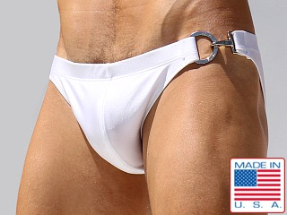 Rufskin Big-D Buckle Stretch Nylon Swim Briefs White