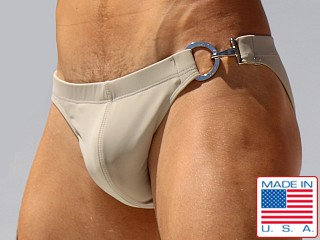 Rufskin Big-D Buckle Stretch Nylon Swim Briefs Tan