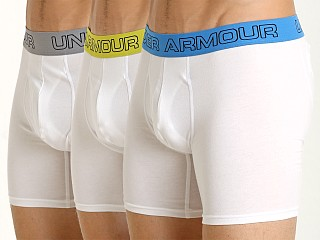 "Model in whites Under Armour Cotton Stretch 6"" Boxerjock 3-Pack"