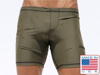 Rufskin Liner 2-Panel Cycle Nylon Spandex Short Olive