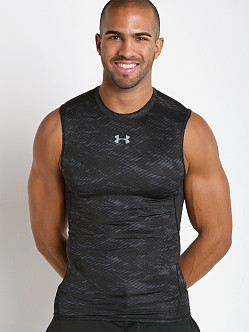 Under Armour Heatgear Sleeveless Printed Compression Tee Black