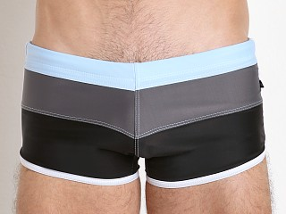 Tulio Horizontal Retro Swim Trunk Black/Charcoal/Powder
