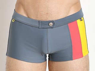 Tulio Flashback Retro Panels Swim Trunk Grey/Coral/Yellow