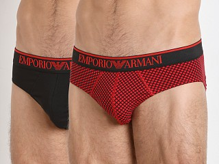 Emporio Armani Pattern Mix Brief 2-Pack Red/Black