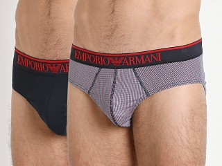 Emporio Armani Pattern Mix Brief 2-Pack Marine/Red Check