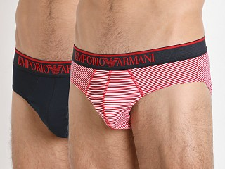 Emporio Armani Pattern Mix Brief 2-Pack Red/Marine