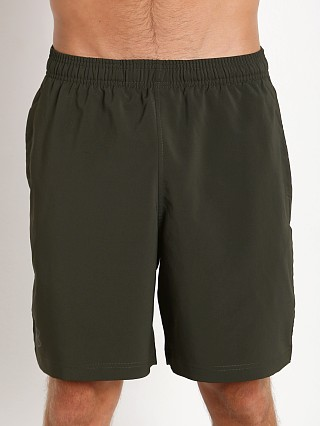 "Model in artillery green Under Armour Hiit 10"" Woven Short"